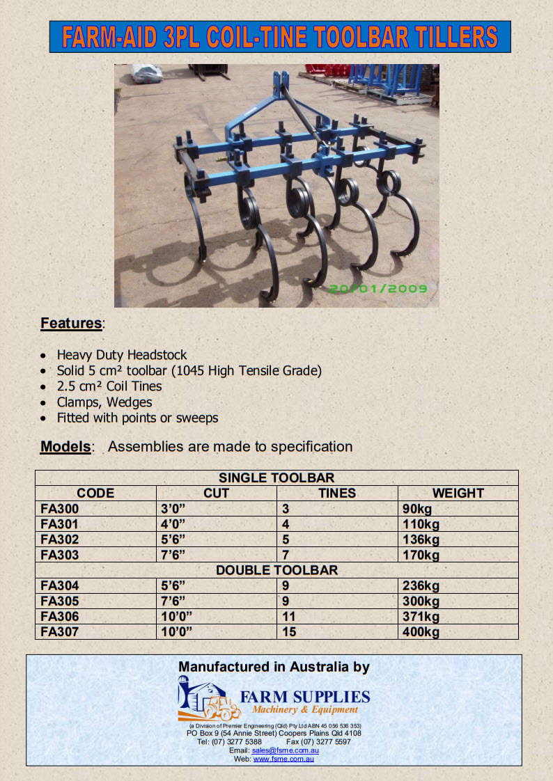 Farm-Aid Coil-Tine 3PL Tiller 2014
