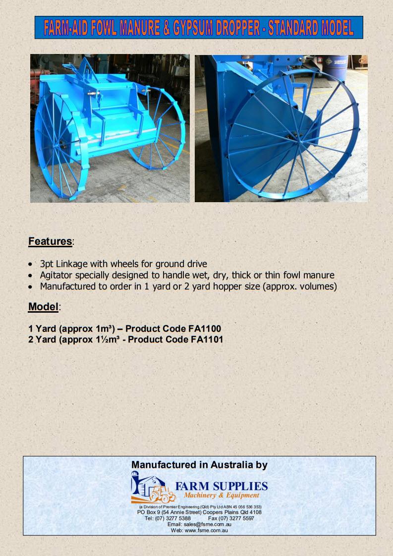 fowl manure Gypsum Dropper standard model 2014